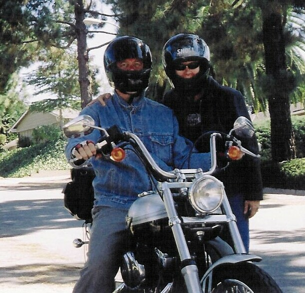 Picture of my wife and me in California on a Harley